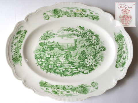Large Vintage Green Transferware Scalloped Platter English Country Gardens