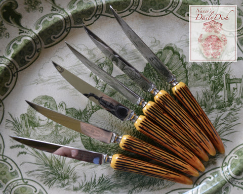 Set of 6 Faux Antler / Stag Adirondack Handle Sheffield English Stainless Steak Knives Crown Crest
