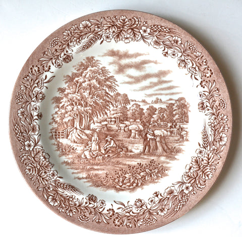 Brown Transferware  Ironstone Plate Pastoral Harvest Scene Wheat Gathering