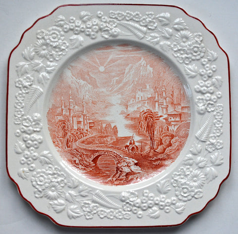 Circa 1891 Antique Staffordshire China English Transferware Red Plate Square Octagon Floral Relief Border George Jones  Path Through Mountain Village