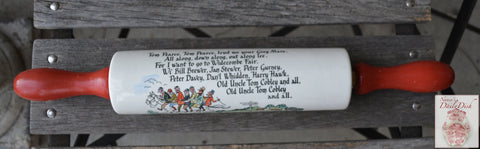 Vintage English  Advertising  Rolling Red Painted Handles Cornish Pasty Widecombe Fair Horses Poem