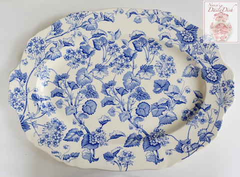 Huge Vintage Blue & White Transferware Tab Handled Turkey Size Platter English Ivy Flowers and Vines