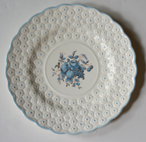 Spode Shabby Cottage Plate Exquisite Relief Daisy Lace Border & Light Blue Flowers