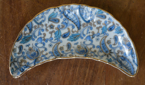 Blue Paisley Chintz  Crescent Shaped Bone Dish Fenton - Caviar Taco Dish at Rose.Rabbit.Lie