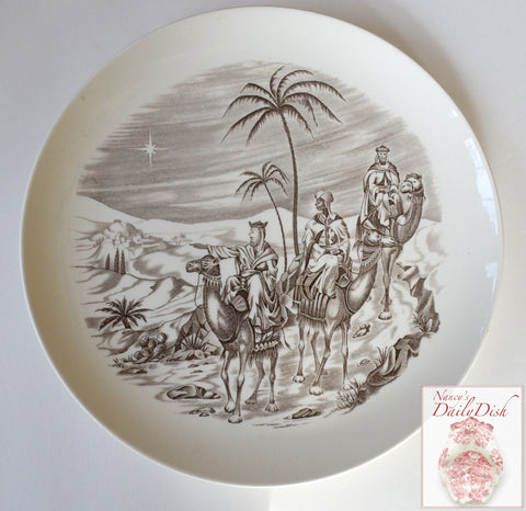 Vintage Copeland Spode Three Wise Men Brown Transferware Christmas Plate