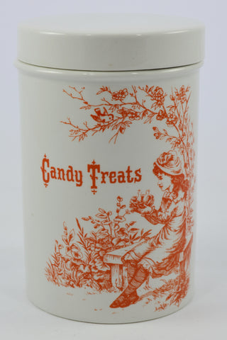 Adorable English Ironstone Candy Treats Jar Orange Print with Little Girl holding a Birds Nest Vintage Candy Jar