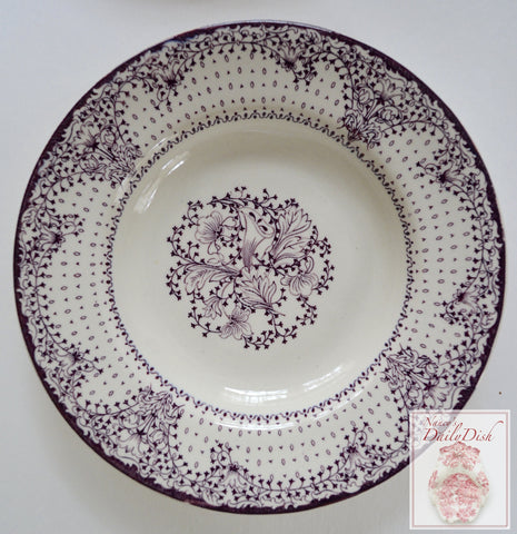 Purple English Transferware Clarice Cliff Lace & Flowers Salad Bowl
