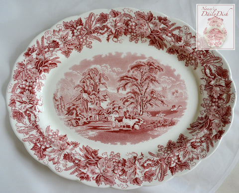 Large Grazing Cows Cattle & Sheep Vintage Red Transferware Platter - Grapes Vines - Farm Scene Cottage British Scenery