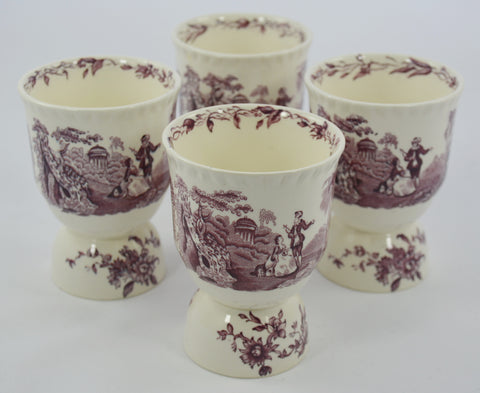 Masons Watteau Purple Transferware Double Egg Cup Sorbet  Dessert Bowl Romantic Scenery Flowers
