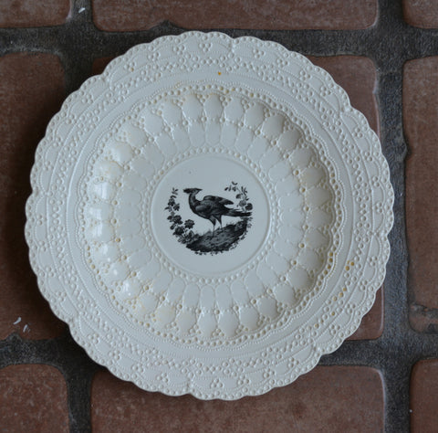Vintage Black & Cream Transferware Plate Spode Jewel Exquisite Lace Border Asiatic Pheasant