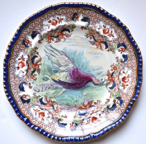 Intricately Hand Painted Spode Copeland Upland Wild Game Bird Downed Turkey Plate  Enameled Clobbered