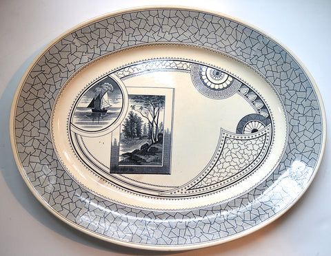"Huge 21"" Antique English Victorian Aesthetic Movement Black - Dark Blue Transferware Platter - Turkey Sized - Nautical Decor Sailboat Woodland"