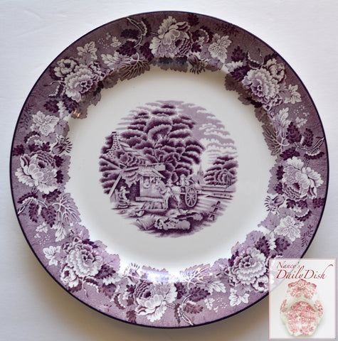 Vintage Purple Transferware Round Platter Chickens Horse Farm Peonies Roses