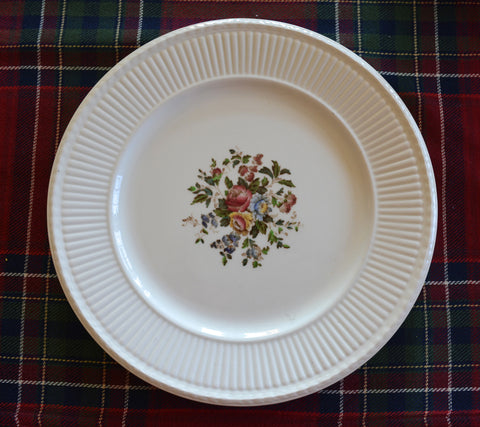Hand Painted Wedgwood Brown Transferware Side Plate Relief Border Multicolor Cabbage Roses