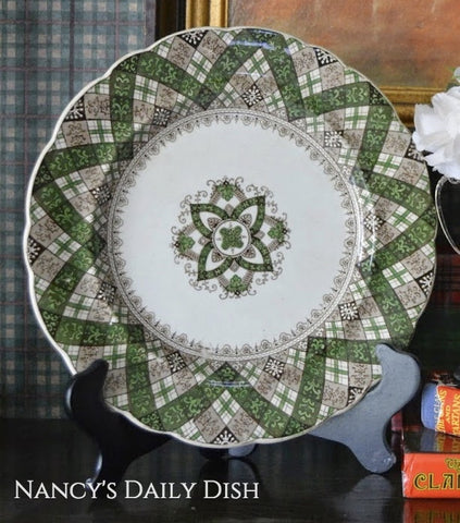 Antique Green & Brown Transferware Plate Caledonian Tartan Plaid Staffordshire Ridgway
