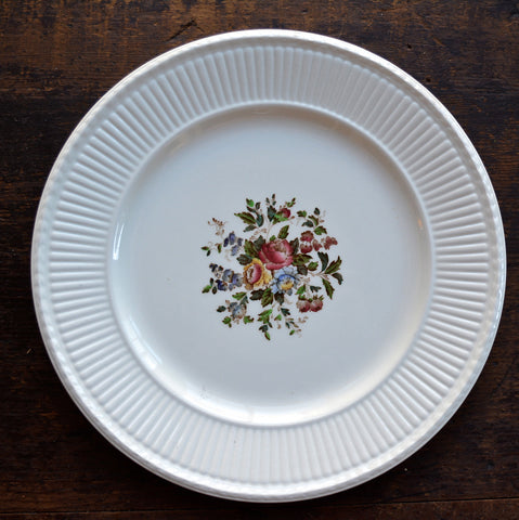 Hand Painted Wedgwood Brown Transferware Dinner Charger Plate Relief Border Multicolor Cabbage Roses