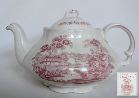 Pink / Red Toile Ironstone Transferware Tea Pot Teapot Tonquin English Waterfall Swans Sailboat