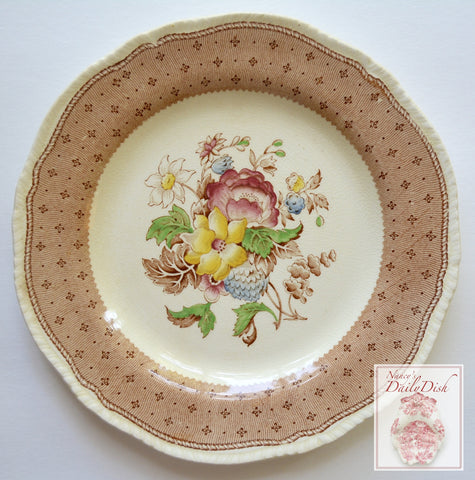 Vintage Brown Transferware Plate  w/ Hand Painted Flowers & Roses Ridgway