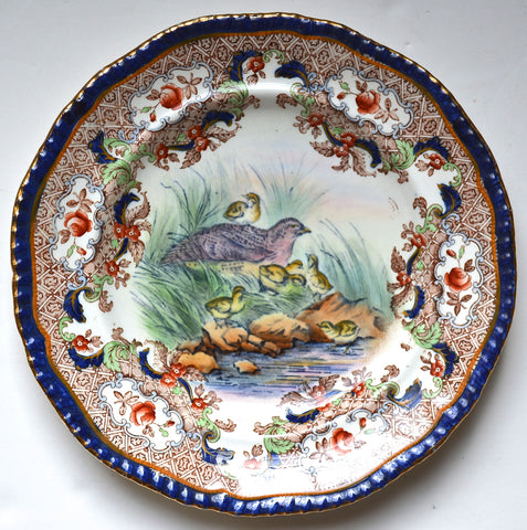 Hand Painted Spode Copeland Game Bird Plate Partridge & Chicks Elaborate Transferware