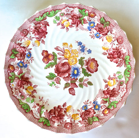 Spode Copeland Polychrome Red Transferware Dinner Plate with a Profusion of Painted Spring / Summer Flowers