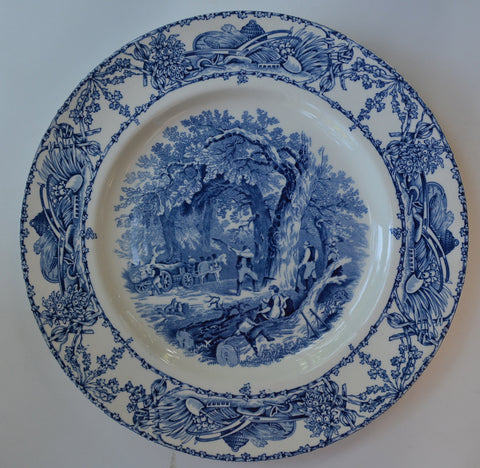 Blue Toile Rural Scenes Transferware Dinner Plate English Country Mother Children Dog Woodcutter