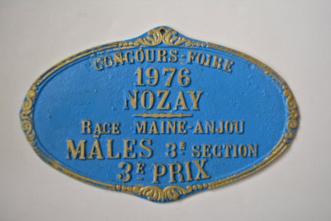 Vintage French Blue Farmhouse Agriculture Award Metal Plaque Race Competition 1976 French Farming History Nozay