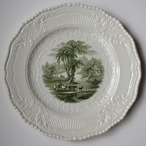 Vintage English Green Toile Transferware Scenic Charger Plte Cattle Goat Bridge Royal Doulton