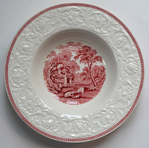 Vintage Toile Rimmed Bowl Red Transferware  Embossed Border Pastoral Cottage Grazing Cows / Cattle
