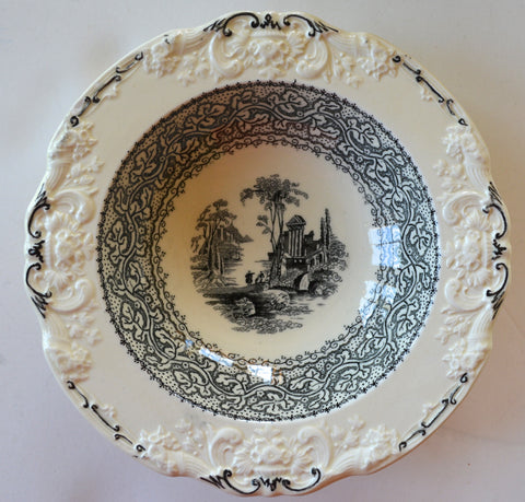 Antique Black & Cream English Transferware Berry Bowl or Candy Dish Genoa Embossed Floral Border