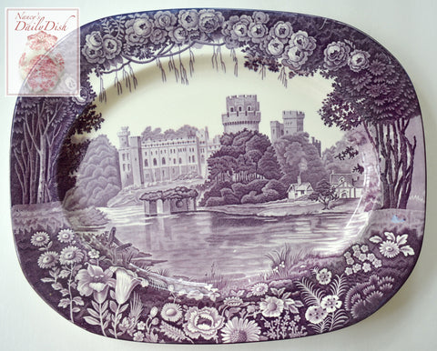 Circa 1930 Purple Aubergine Transferware Platter Dripping Roses Hills Warwick Castle Wood and Sons