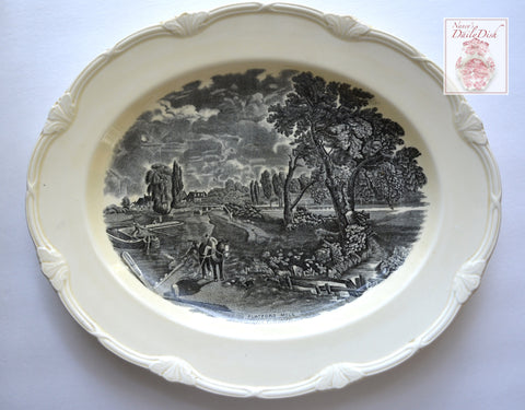 Lg Scenes After Constable Black Transferware Platter Flatford Mill Pastoral Scene Horse & Child