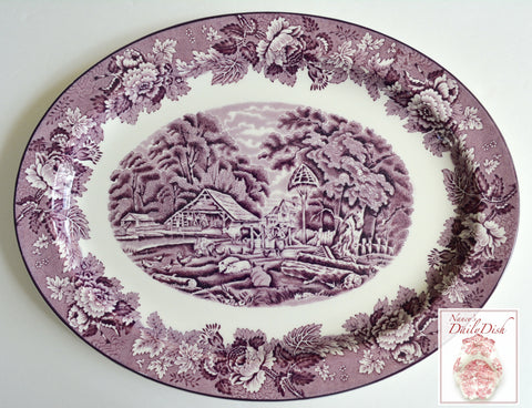 Large Vintage Purple TRANSFERWARE PLATTER GIRL FEEDING FARM ANIMALS PIGS CHICKENS COWS ENGLAND Peonies