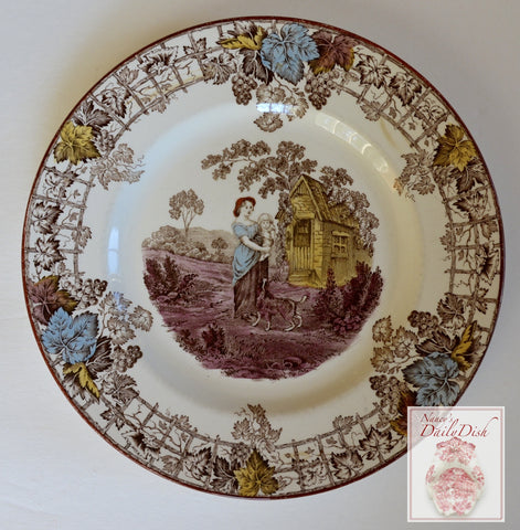 Spode Byron Brown Polychrome Transferware Plate Mother Holding Baby