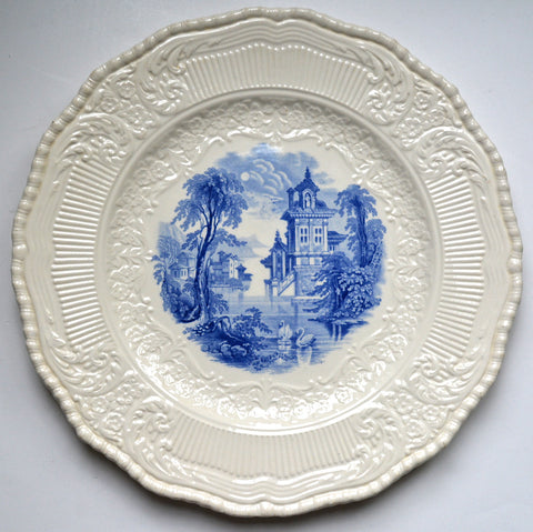 Royal Doulton Blue Transferware Plate Charger Wading Swans Embossed Border