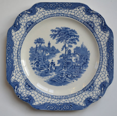 Adams Cottage Landscape Roses Square Plate Blue Transferware Blue Toile Dish