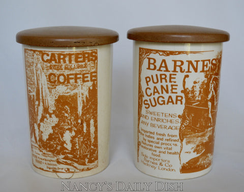 Golden Brown Print Vintage Advertising English Ironstone Kitchen Canisters Coffee Sugar