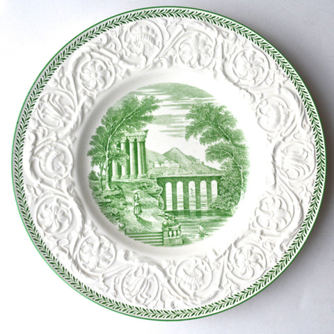 Vintage Wedgwood Green Transferware Plate Italian Seaside Country Scenes Embossed Sunflower Border