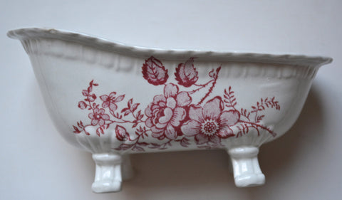 Red Toile Transferware Ironstone Claw Foot Bath Tub Soap Dish Charlotte England