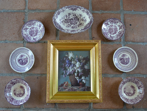 Instant Wall Decor!  Framed Lilac & Iris Print with 8 Mix n Match Purple Transferware Plates