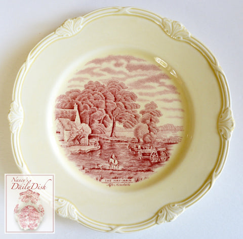 Scenes After Constable Red Creamware English Transferware Plate The Hay-Wain Horses Farm England