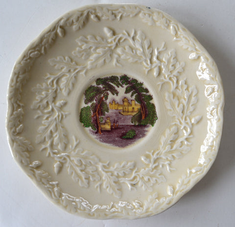 Masons Vista Purple Aubergine / Purple  Transferware Scenic Plate Embossed Oak Leaf & Acorn Border