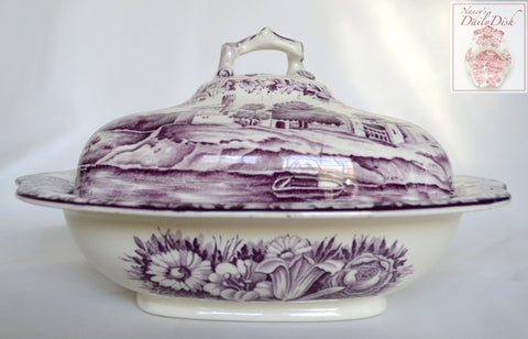 HTF Circa 1930 Purple Aubergine Transferware Covered Dish Casserole Dripping Roses Hills Blackrock Castle Wood and Sons