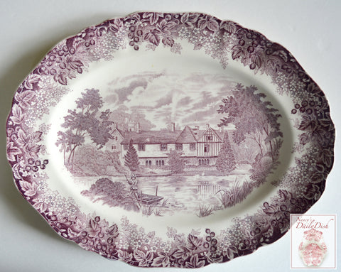 Vintage English Purple Transferware Platter Cottage Boat Lake Swans Flowers Berries