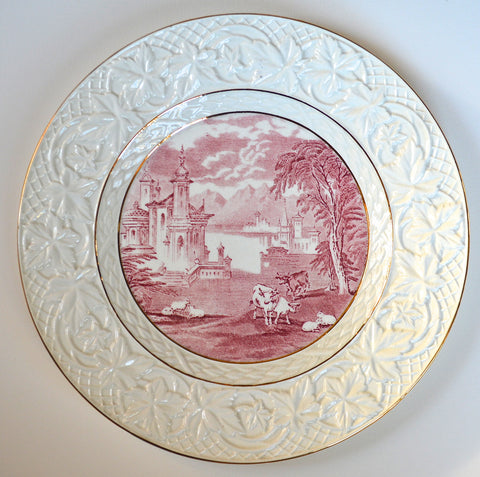 Vintage Red & Cream Toile Transferware Charger Platter Grazing Cattle Sheep Castle & Embossed Border