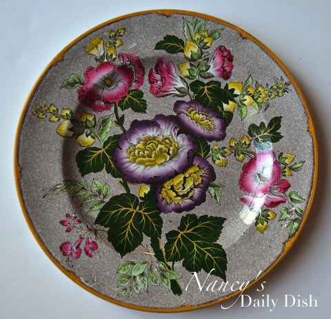Brown Transferware Hand Enameled Plate Antique Wedgwood Hollyhock Purple & Pink