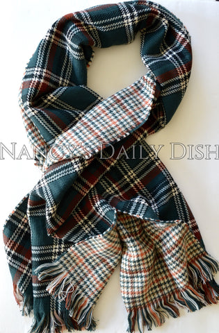 Green Tartan Plaid Houndstooth Reversible Oversized Blanket Scarf / Shawl or Table Runner - Extra Long Thick & Wide