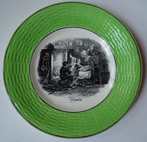 Black French Transferware French Country Cottage December Fireside Winter Scene Green Basketweave Border