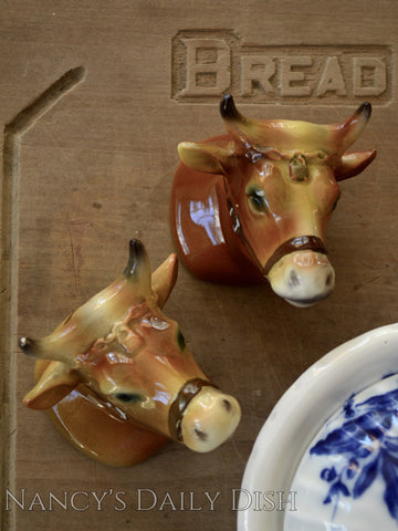 Vintage French Country Figural Bull / Cow Head Figurines Hand Painted Salt & Pepper Shaker Set
