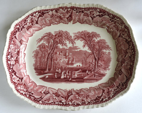 HUGE Masons Vista Red Transferware Scenic Platter Dog Park Couples Staffordshire China Oval Serving Tray