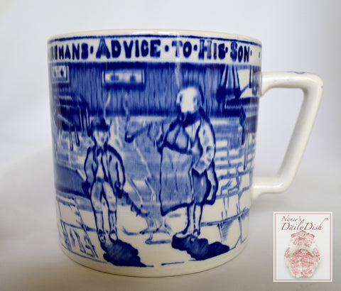 Oversize Staffordshire Blue Transferware Children's Mug Oversized Cup Man's Advice to His Son